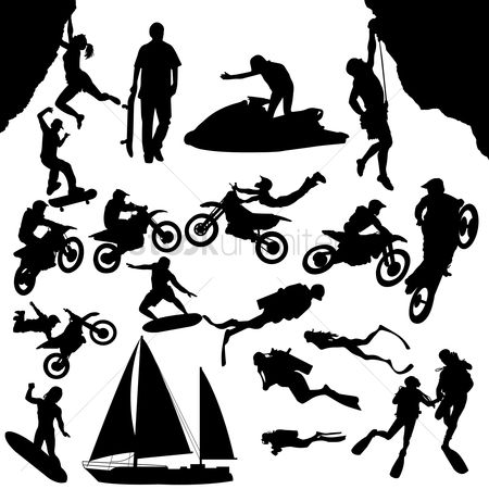 Sports : Silhouette man with different activities