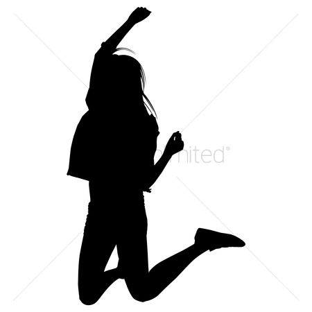 Success : Silhouette of a joyful woman