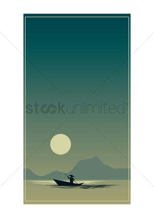 Sceneries : Silhouette of a man rowing a boat