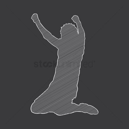 Cheering : Silhouette of a sportsman cheering