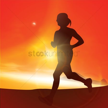 Sunray : Silhouette of a woman jogging