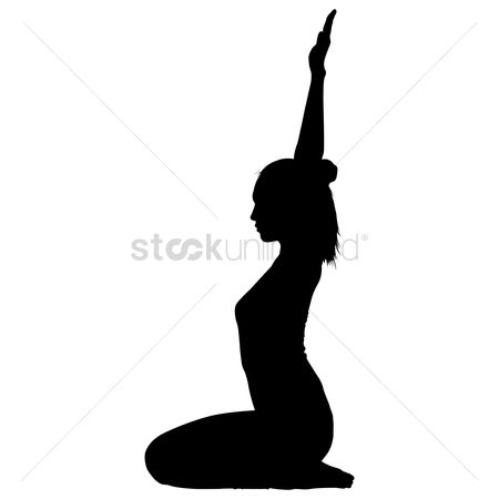 Meditations : Silhouette of a woman practicing yoga