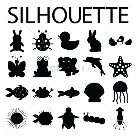Starfishes : Silhouette of animals and fishes