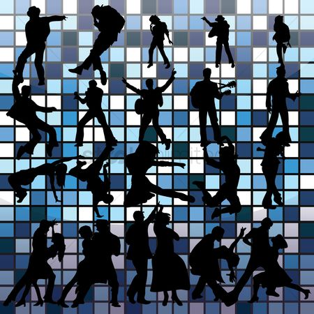 Dancing : Silhouette of dancers and musician