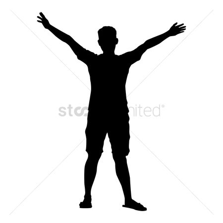 Cutout : Silhouette of man with raised hands