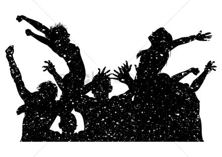 Cheering : Silhouette of people cheering