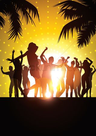 Summer : Silhouette of people having a party