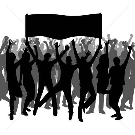Cheering : Silhouette of people holding a banner and cheering
