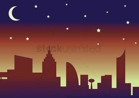 Architectures : Silhouette of the city and night sky with stars and moon