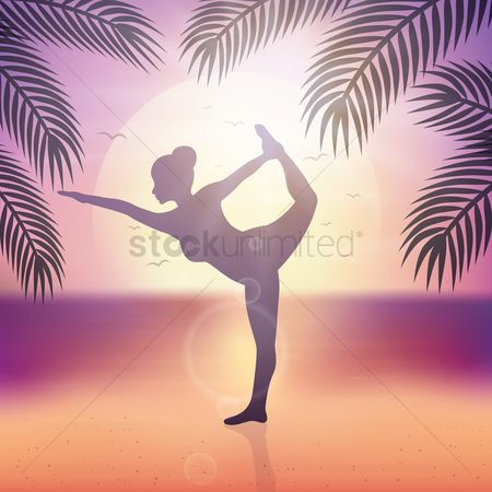 Health cares : Silhouette of woman doing yoga