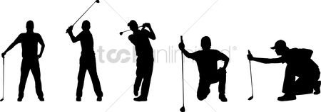 Recreation : Silhouettes of a golfer