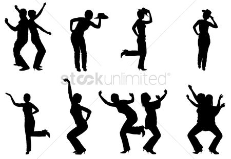 Posing : Silhouettes of people dancing