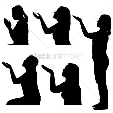 Posing : Silhouettes of woman praying