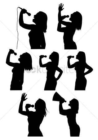 Authority : Silhouettes of woman singing and using megaphone