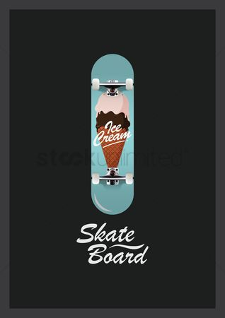 Skateboard : Skateboard design with ice cream cone
