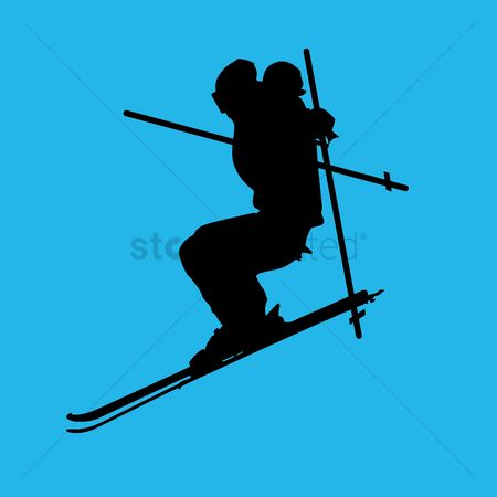 Skiing : Skier in action