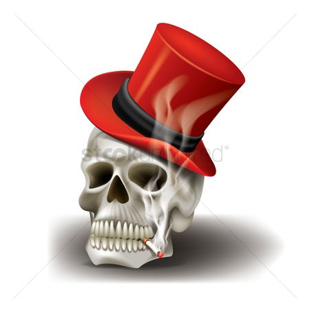 Smokes : Skull with hat and cigarette