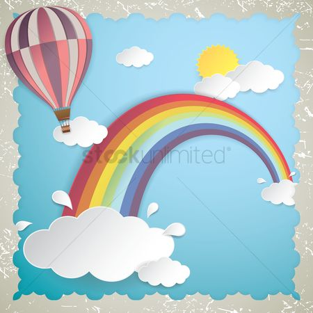 Borders : Sky with rainbow and air balloon