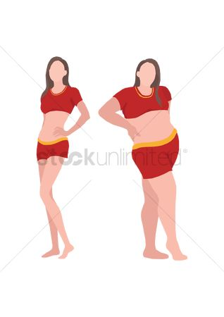 Posing : Slim and overweight woman comparison