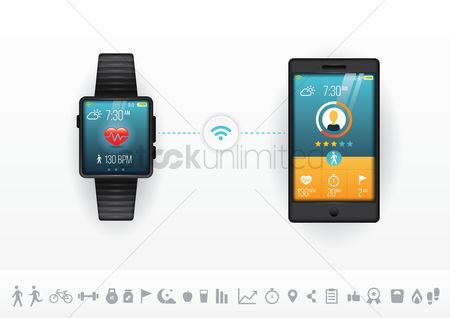 Health : Smart phone and watch fitness concept