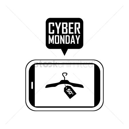 Terms : Smart phone with cyber monday speech bubble
