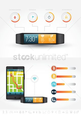 Screens : Smart watch and phone health concept