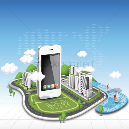 Mobiles : Smartphone with buildings and clouds