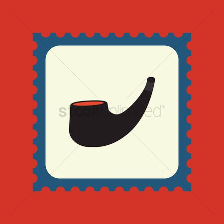 Smoking pipe : Smoke pipe postage stamp