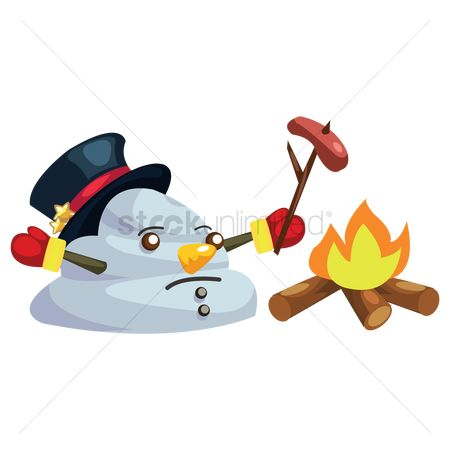 Mitten : Snowman melting while roasting a sausage