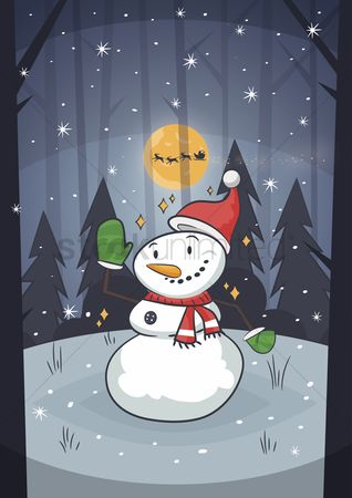 Mitten : Snowman waving with winter background
