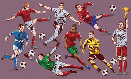 Footballs : Soccer players set
