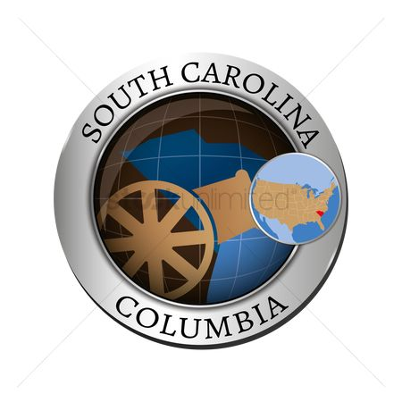 Capitals : South carolina state with cannon badge