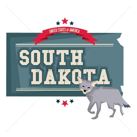 Dakota : South dakota map with coyote