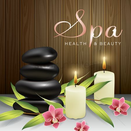 Health : Spa stones with candles