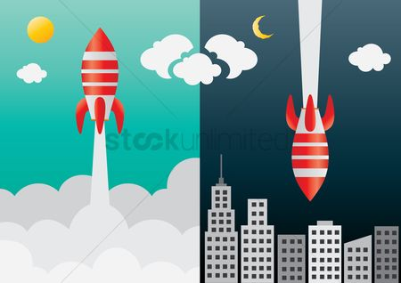 Spaceships : Space rocket flying in space