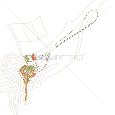 Tricolored : Spaghetti on fork
