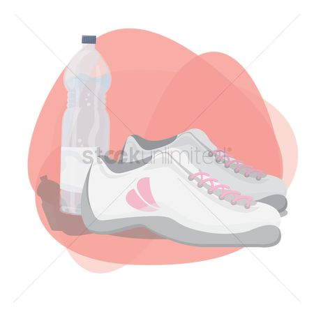Footwear : Sports shoes with water bottle