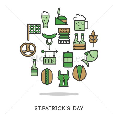 Wooden sign : St patrick s day icons