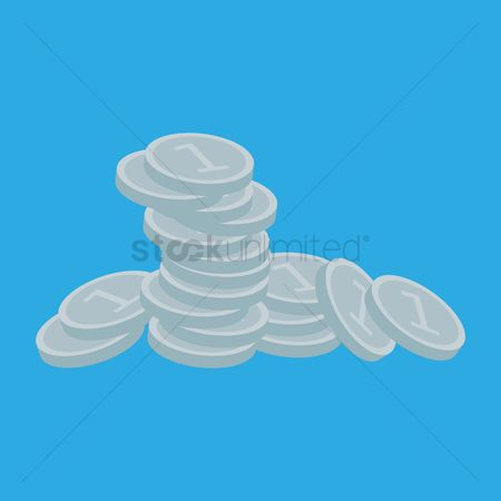 Silver : Stack of coins