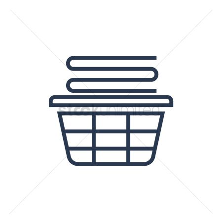 Housekeeping : Stack of folded clothes in laundry basket
