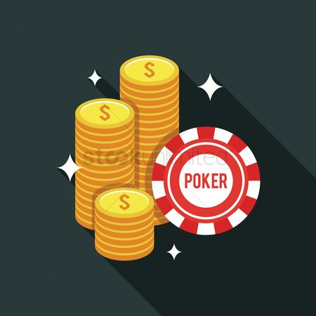 Poker chips : Stacks of gold dollar coins and poker chip