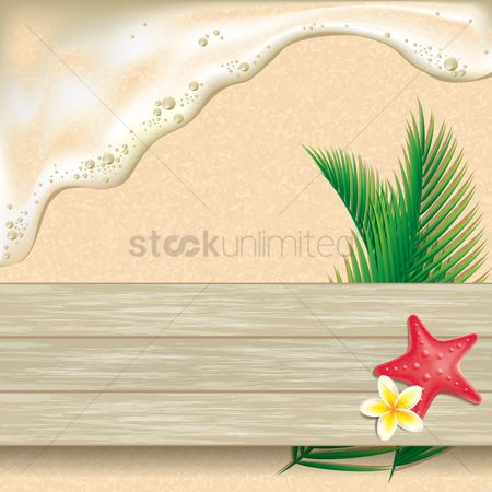 Ocean : Starfish flowers and leaves on beach background