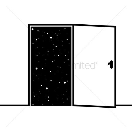 Open : Starry sky view from open door