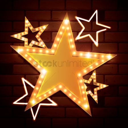 Brick : Stars on bricks wall background