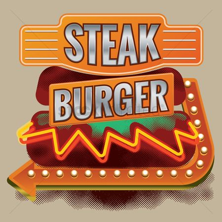 Old fashioned : Steak burger design
