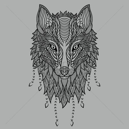 Sketching : Stylized wolf head