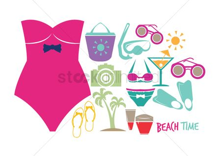 Bikinis : Summer collection icons