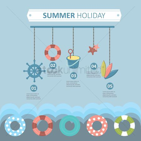 Seashore : Summer holiday infographic