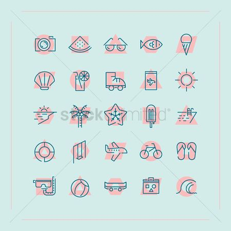 Watermelon slice : Summer icon set