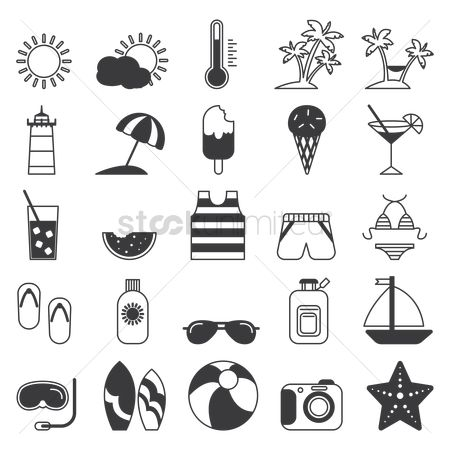 Temperatures : Summer icon set
